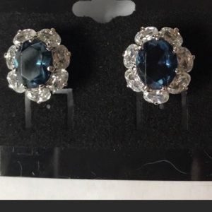 CZ and faux sapphire quality fashion earrings